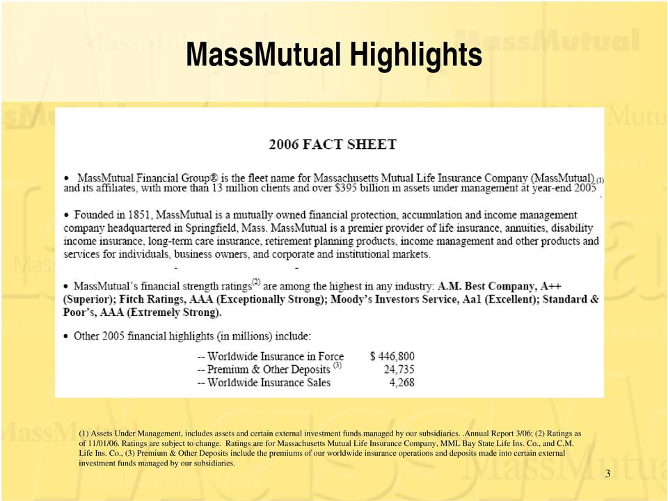 Ratings are for Massachusetts Mutual Life Insurance Com