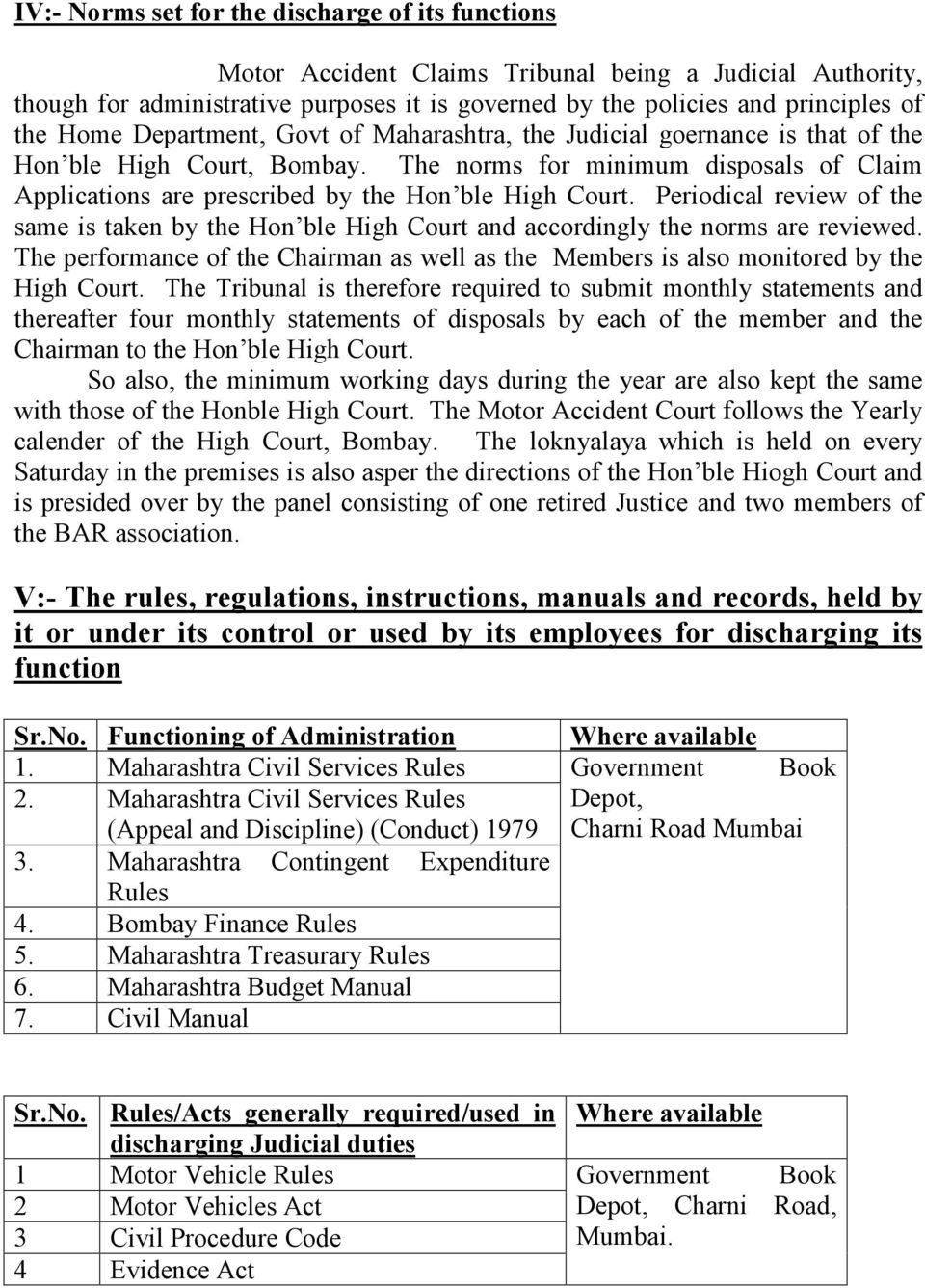 Periodical review of the same is taken by the Hon ble High Court and accordingly the norms are reviewed. The performance of the Chairman as well as the Members is also monitored by the High Court.