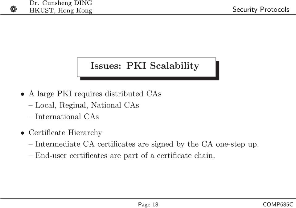 Hierarchy Intermediate CA certificates are signed by the CA