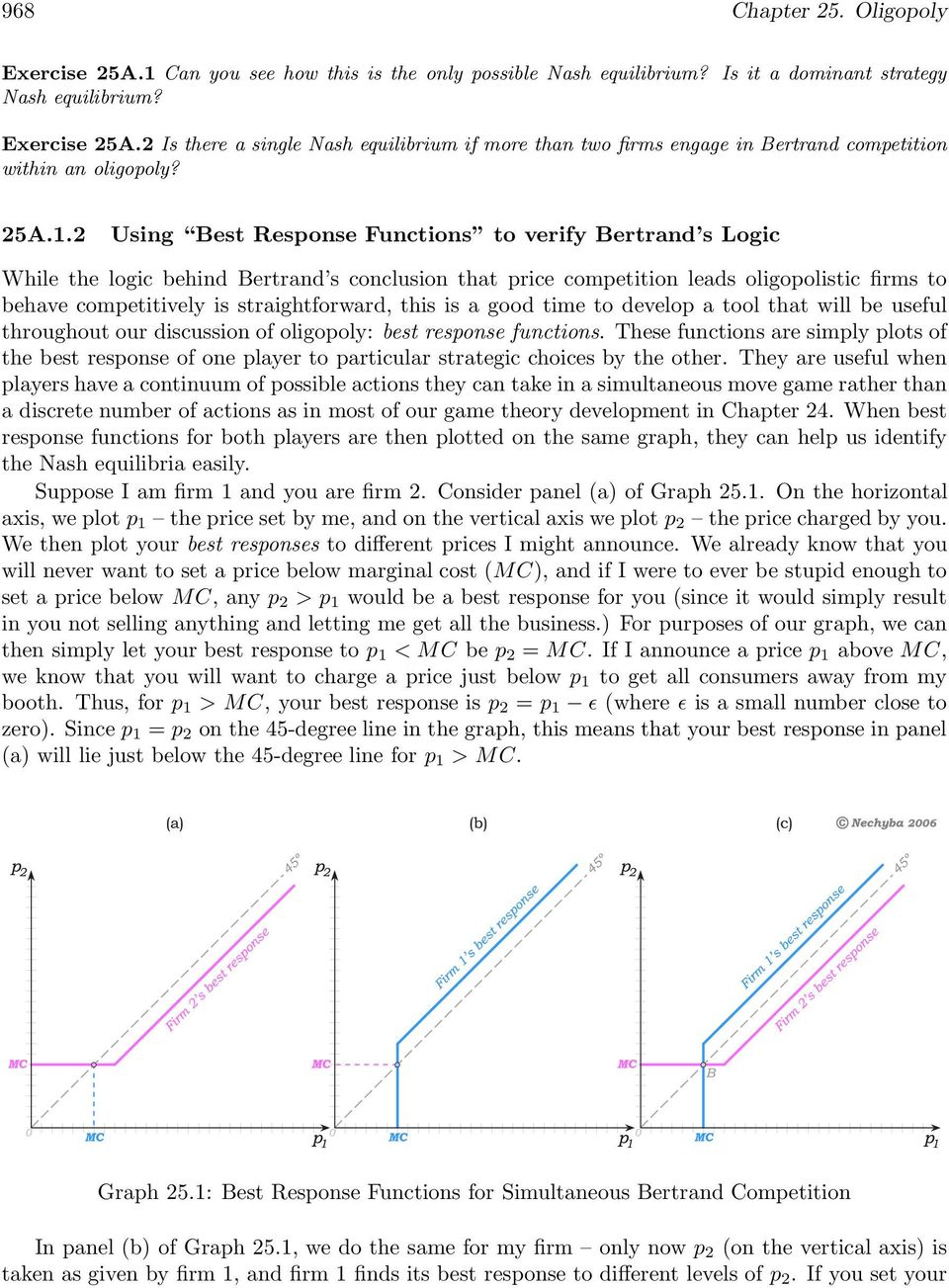 2 Using Best Response Functions to verify Bertrand s Logic While the logic behind Bertrand s conclusion that price competition leads oligopolistic firms to behave competitively is straightforward,