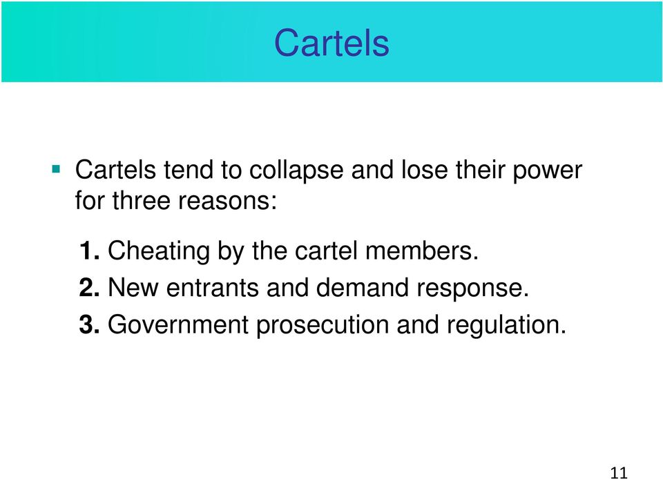 Cheating by the cartel members. 2.
