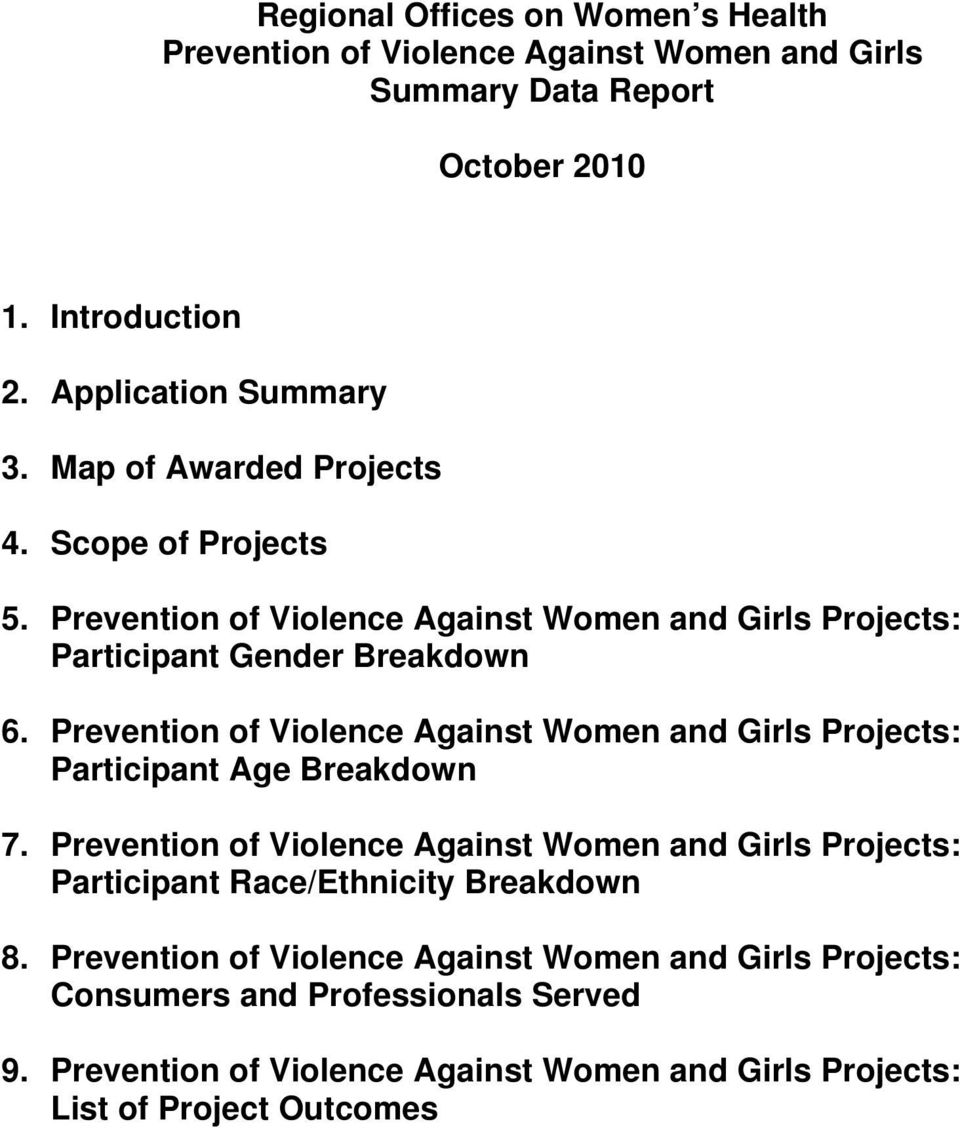 Prevention of iolence Against Women and Girls Projects: Participant Age Breakdown 7.