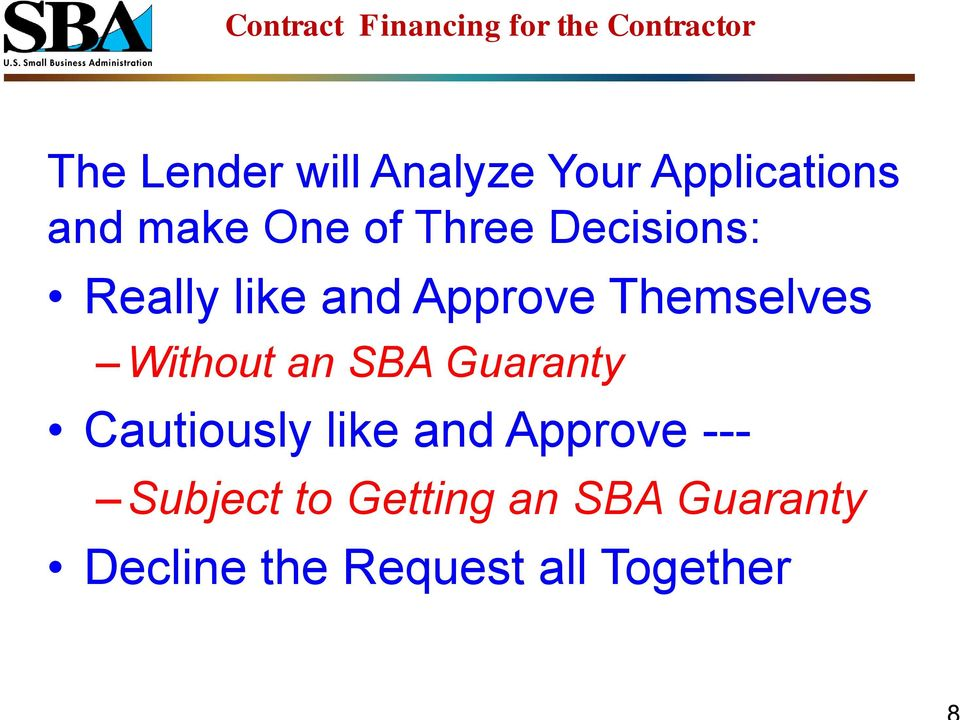 Without an SBA Guaranty Cautiously like and Approve ---