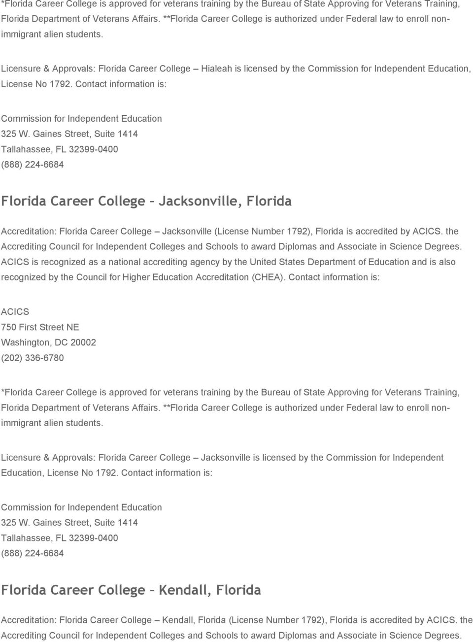 Licensure & Approvals: Florida Career College Hialeah is licensed by the Commission for Independent Education, License No 1792. Contact information is: Commission for Independent Education 325 W.