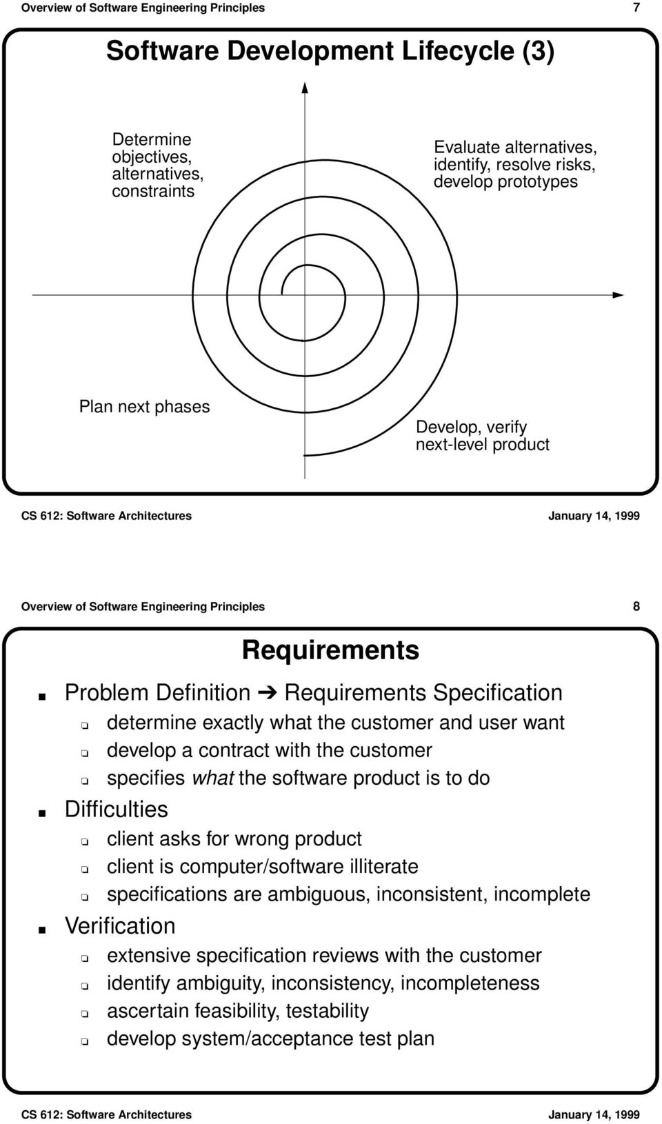 user want develop a contract with the customer specifies what the software product is to do Difficulties client asks for wrong product client is computer/software illiterate specifications are