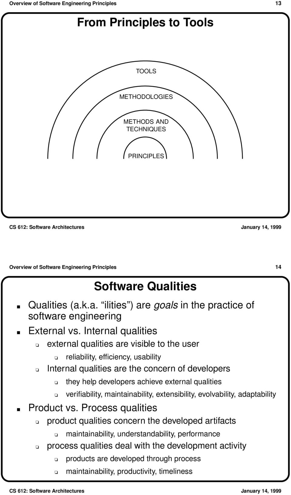 Internal qualities external qualities are visible to the user reliability, efficiency, usability Internal qualities are the concern of developers they help developers achieve external qualities