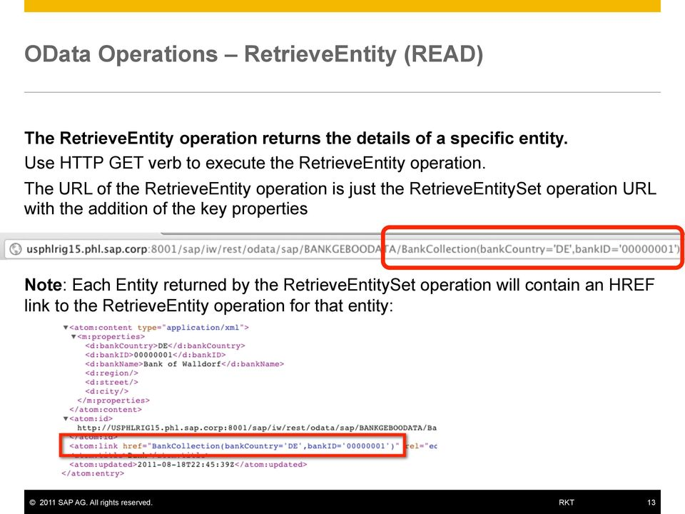 The URL of the RetrieveEntity operation is just the RetrieveEntitySet operation URL with the addition of