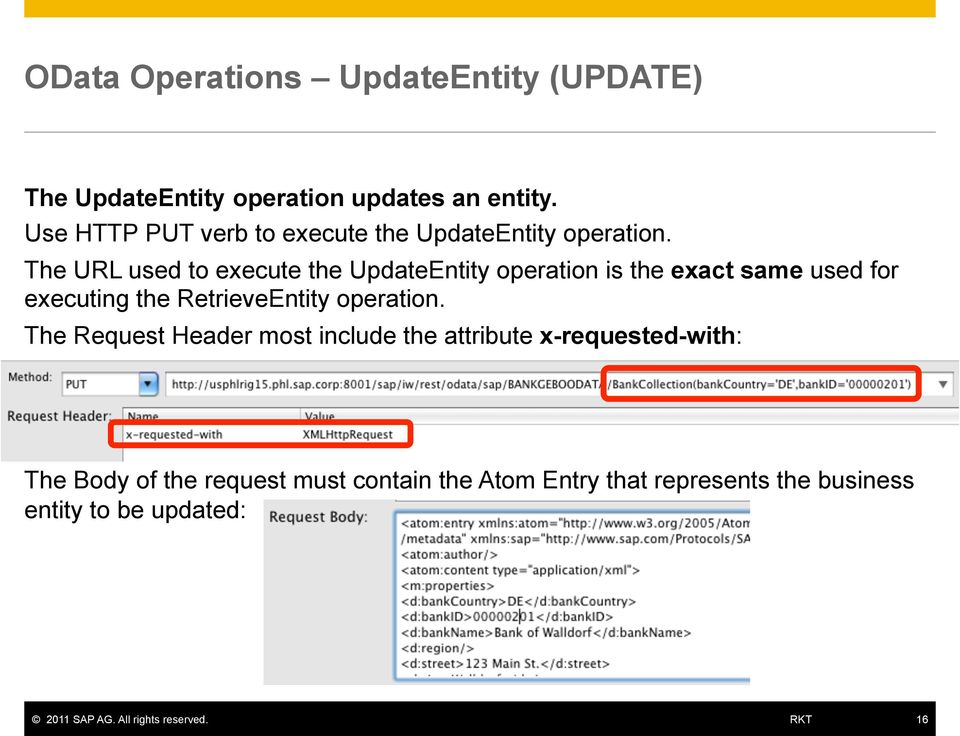 The URL used to execute the UpdateEntity operation is the exact same used for executing the RetrieveEntity