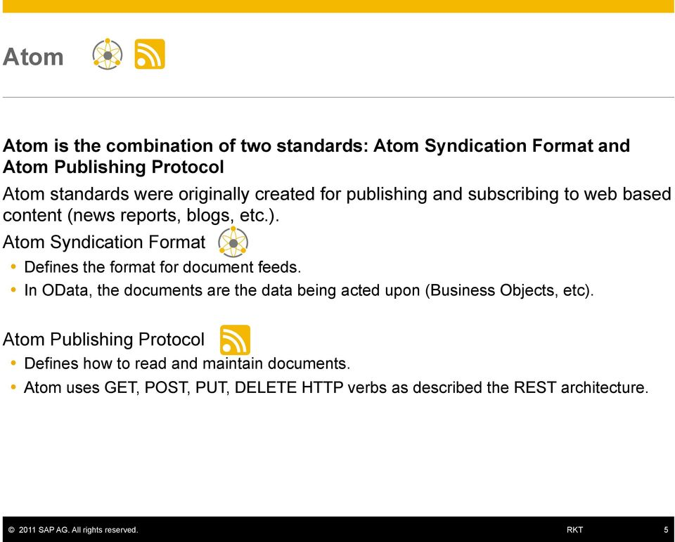 Atom Syndication Format Defines the format for document feeds.