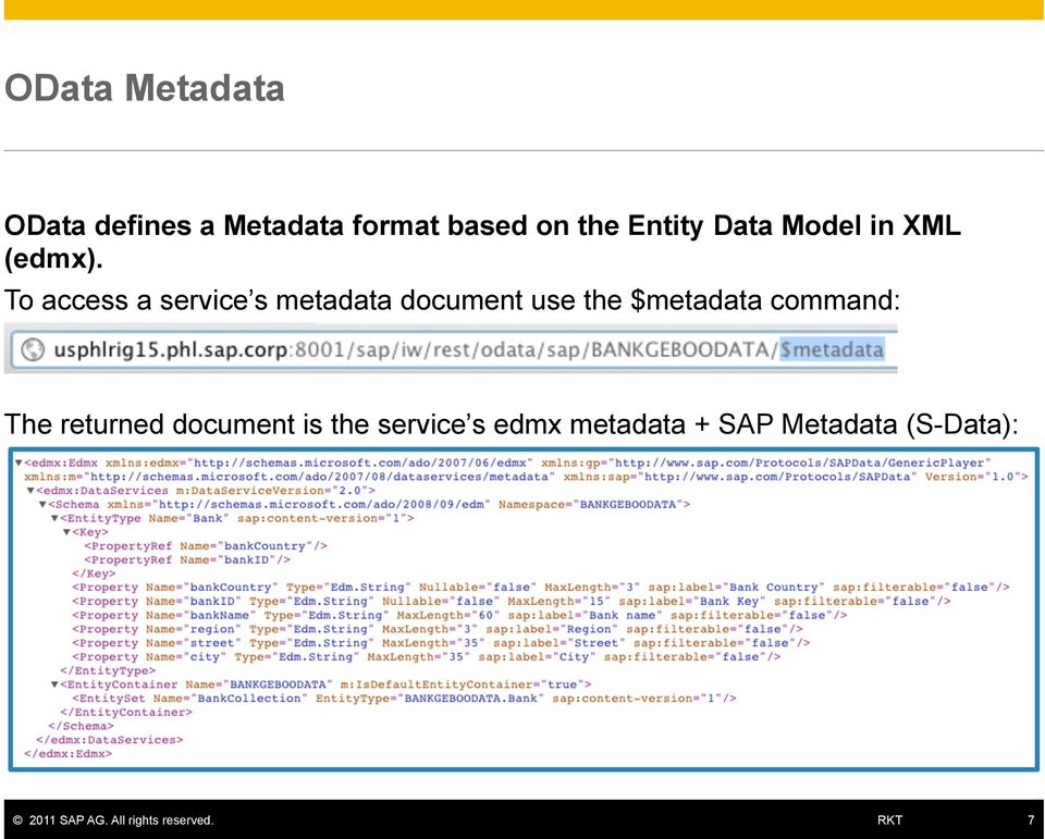 To access a service s metadata document use the $metadata