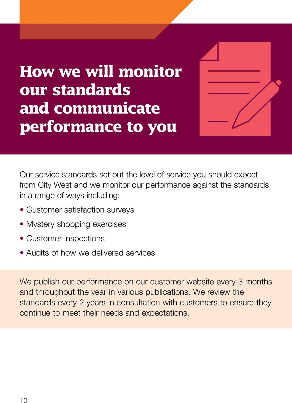 Customer inspections Audits of how we delivered services We publish our performance on our customer website every 3 months and throughout the year in