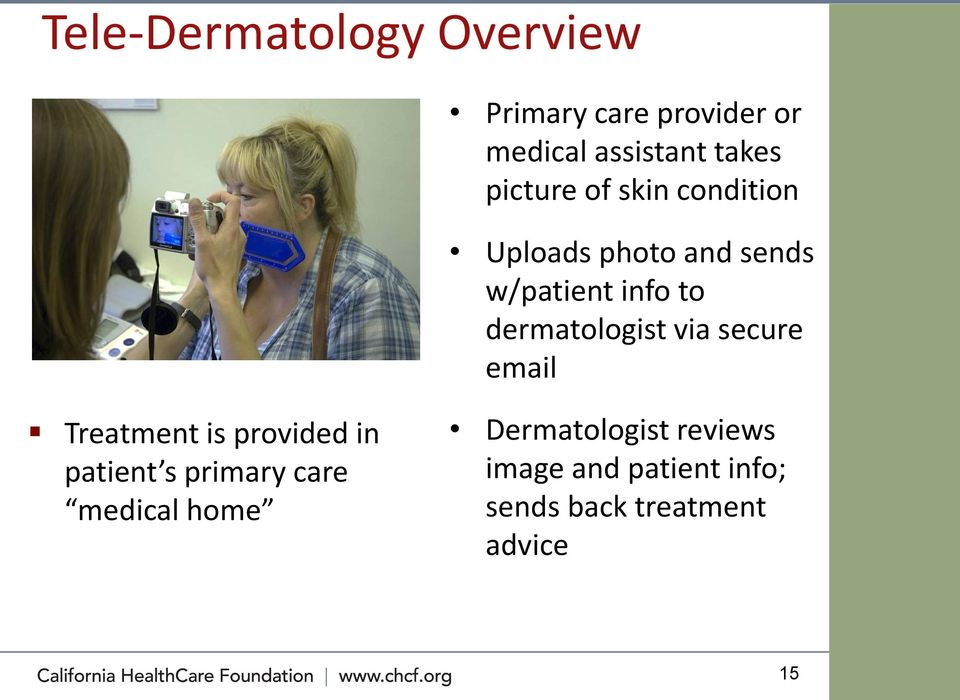 dermatologist via secure email Treatment is provided in patient s primary