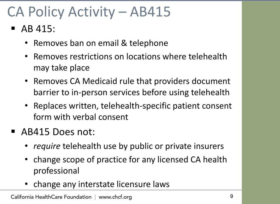 Replaces written, telehealth-specific patient consent form with verbal consent AB415 Does not: require telehealth use by