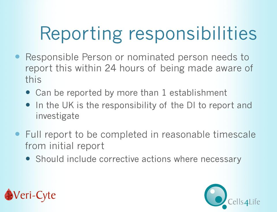 the UK is the responsibility of the DI to report and investigate Full report to be