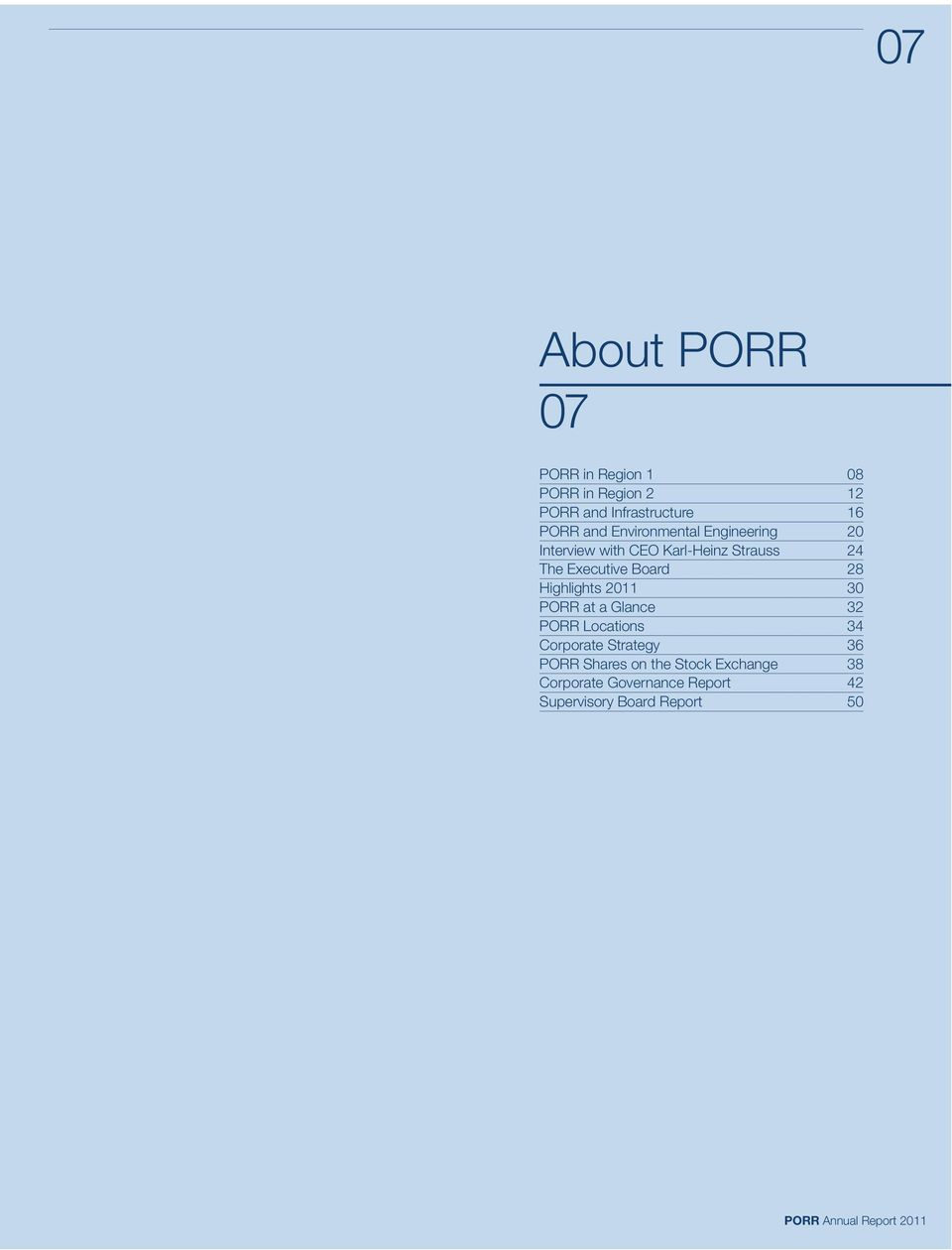 Board 28 Highlights 2011 30 PORR at a Glance 32 PORR Locations 34 Corporate Strategy 36
