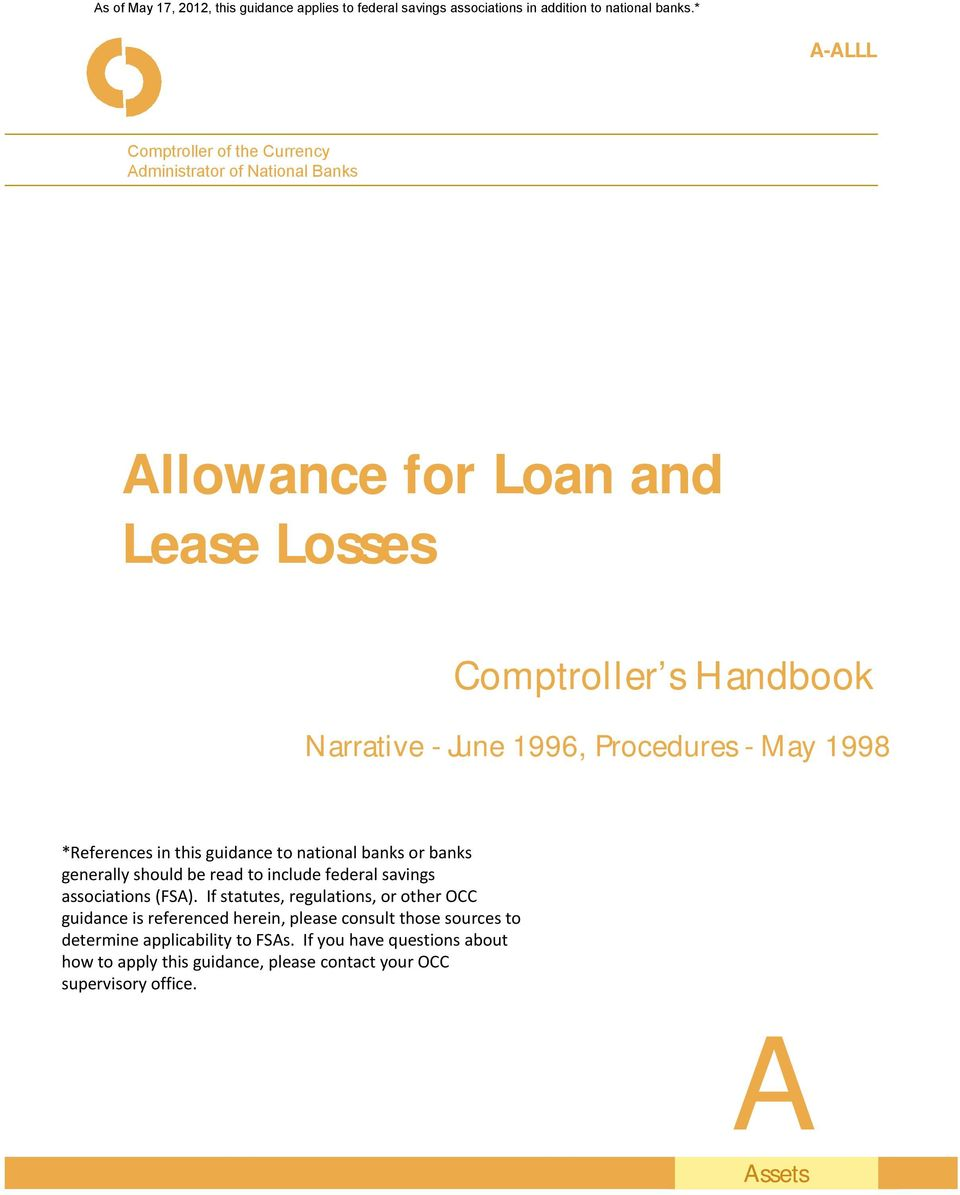 for Loan and Lease Losses Comptroller s