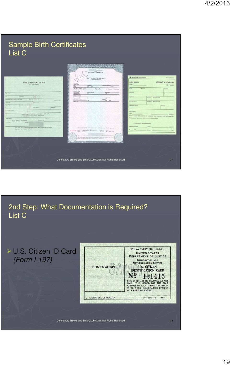 Documentation is Required? List C U.S.