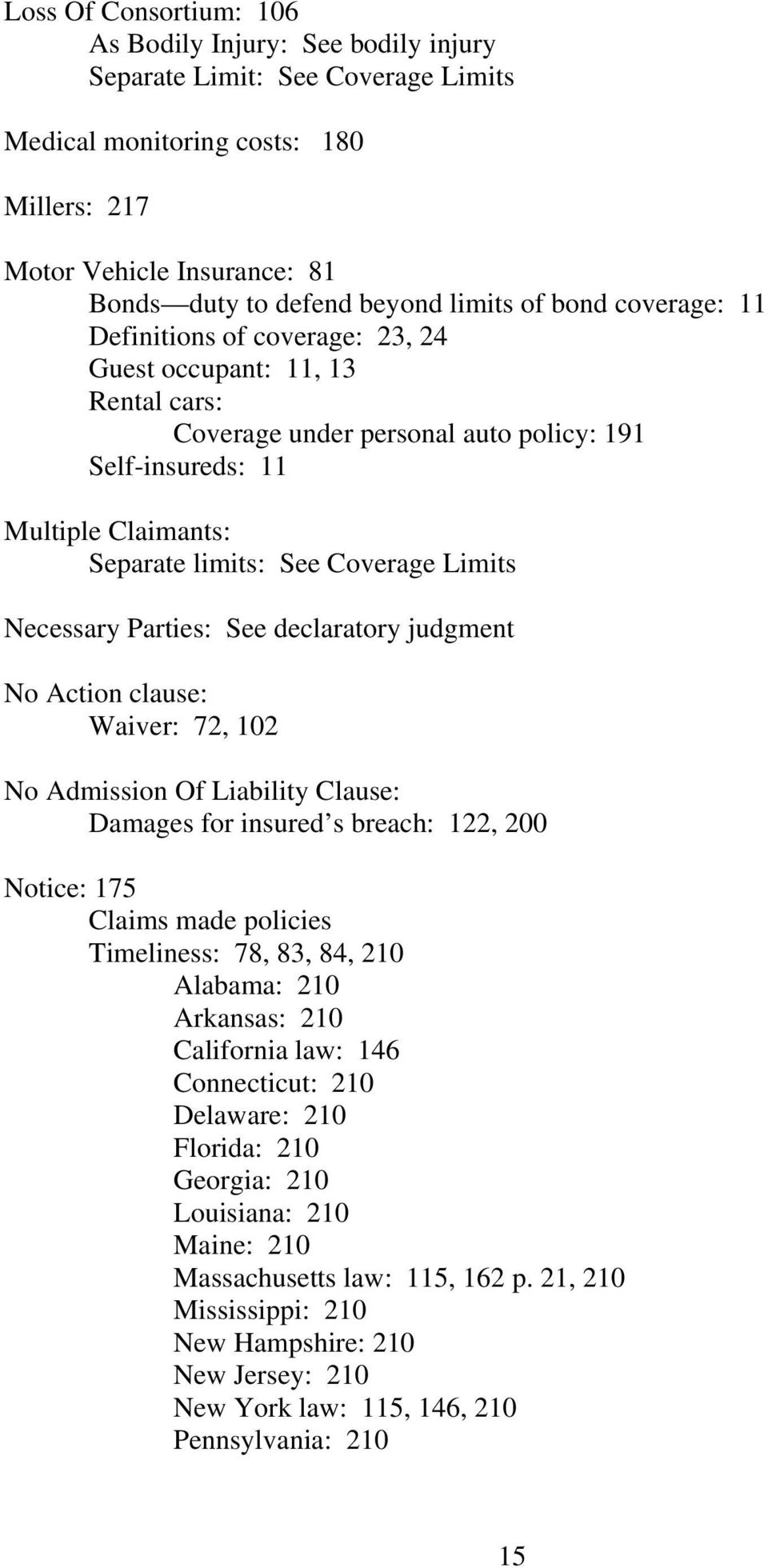 Coverage Limits Necessary Parties: See declaratory judgment No Action clause: Waiver: 72, 102 No Admission Of Liability Clause: Damages for insured s breach: 122, 200 Notice: 175 Claims made policies