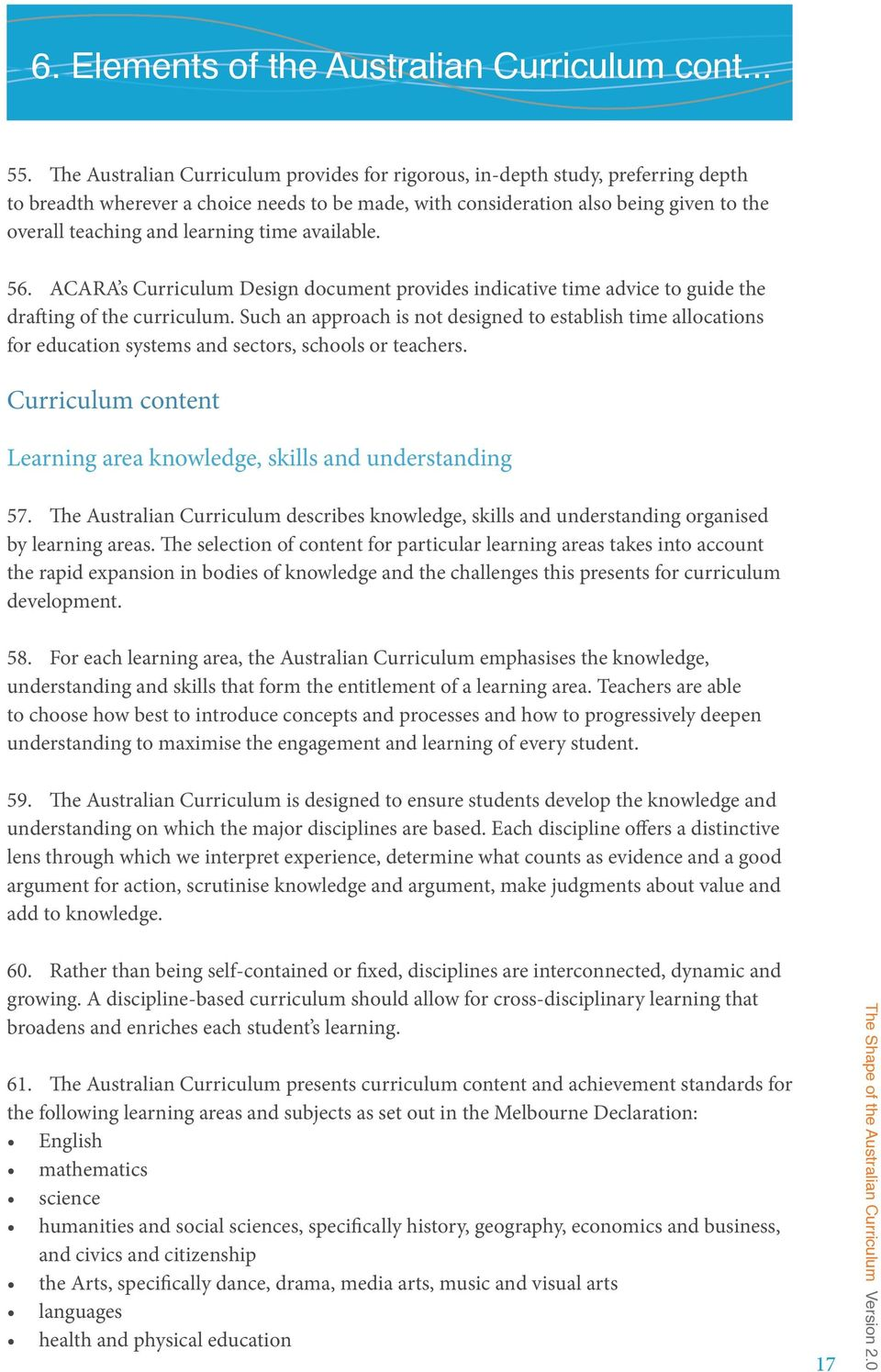 learning time available. 56. ACARA s Curriculum Design document provides indicative time advice to guide the drafting of the curriculum.