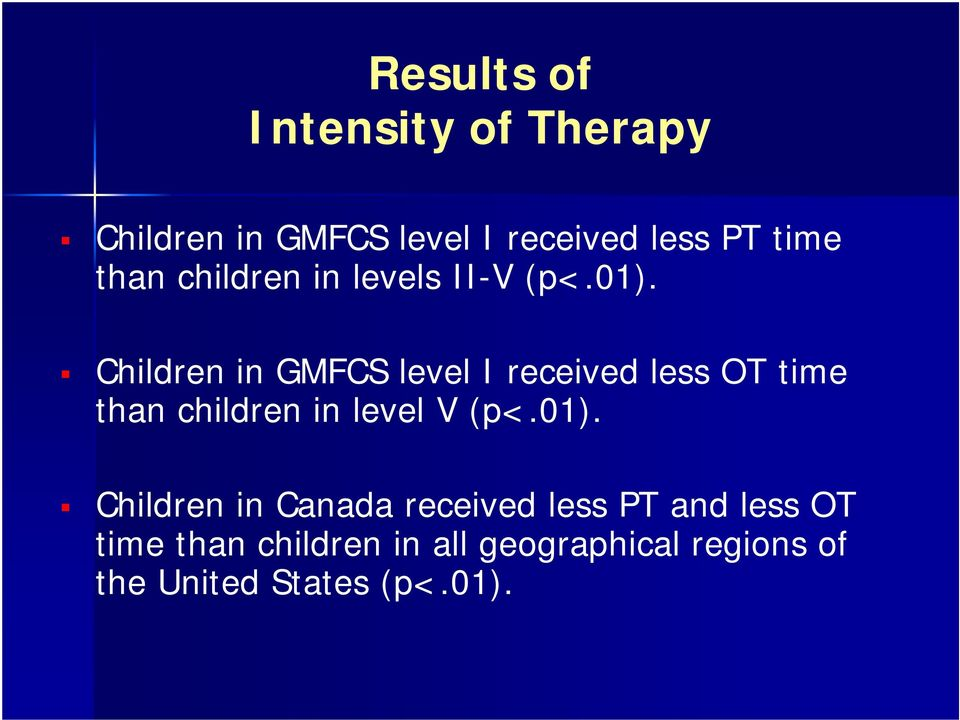Children in GMFCS level I received less OT time than children in level V (p<.01).