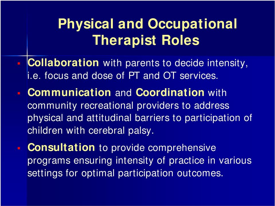 barriers to participation of children with cerebral palsy.