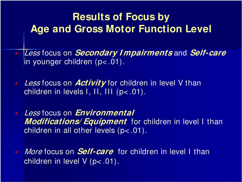 Less focus on Activity for children in level V than children in levels I, II, III (p<.01).