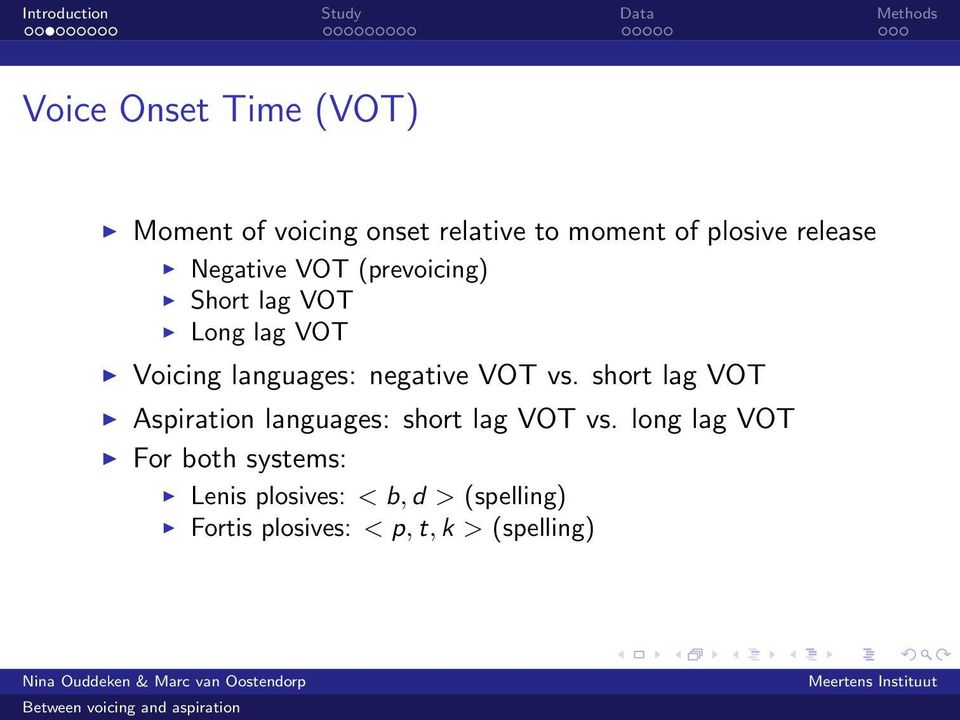 negative VOT vs. short lag VOT Aspiration languages: short lag VOT vs.