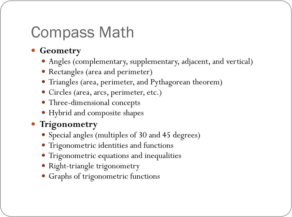 ) Three-dimensional concepts Hybrid and composite shapes Trigonometry Special angles (multiples of 30 and 45