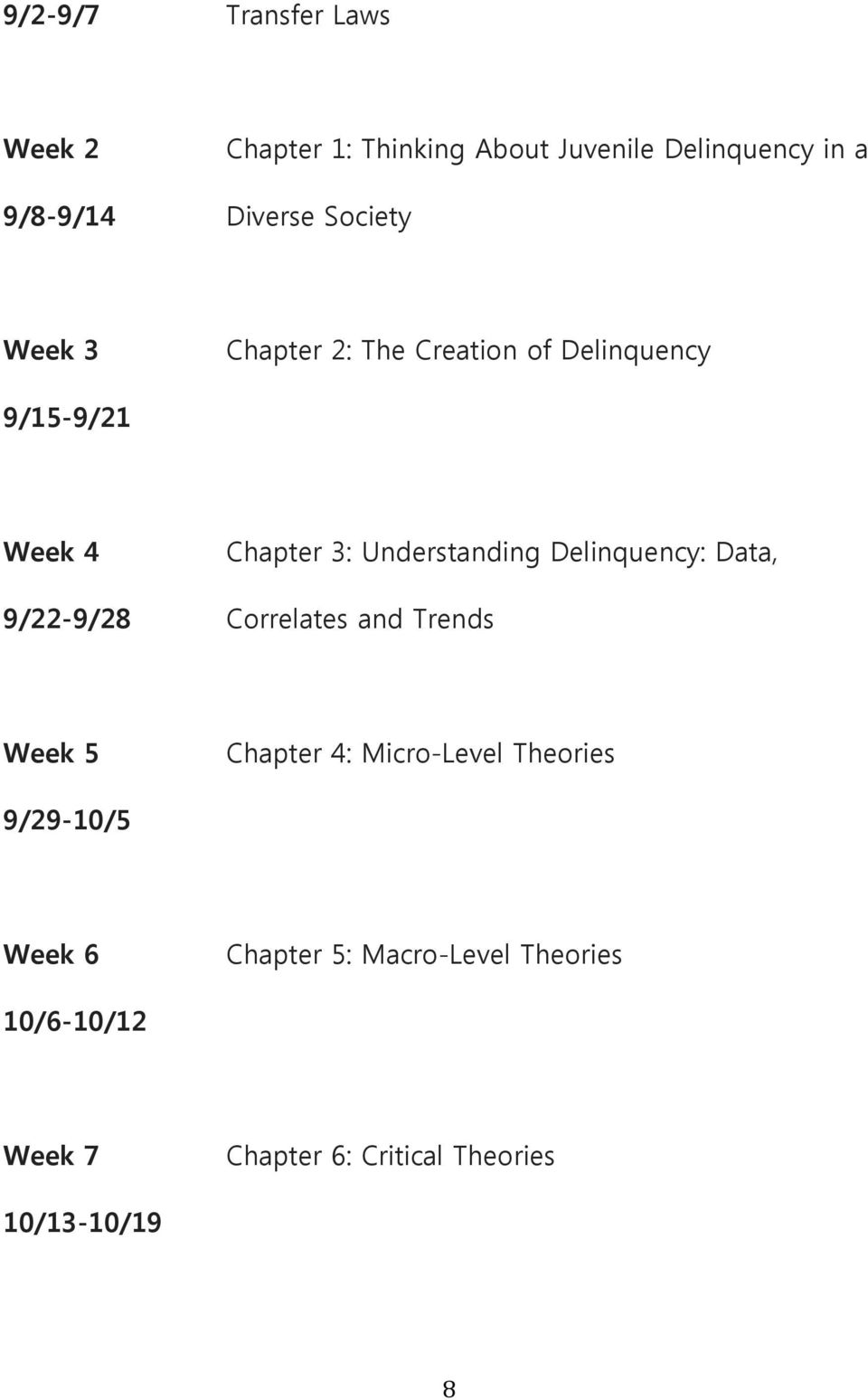 Delinquency: Data, 9/22-9/28 Correlates and Trends Week 5 Chapter 4: Micro-Level Theories
