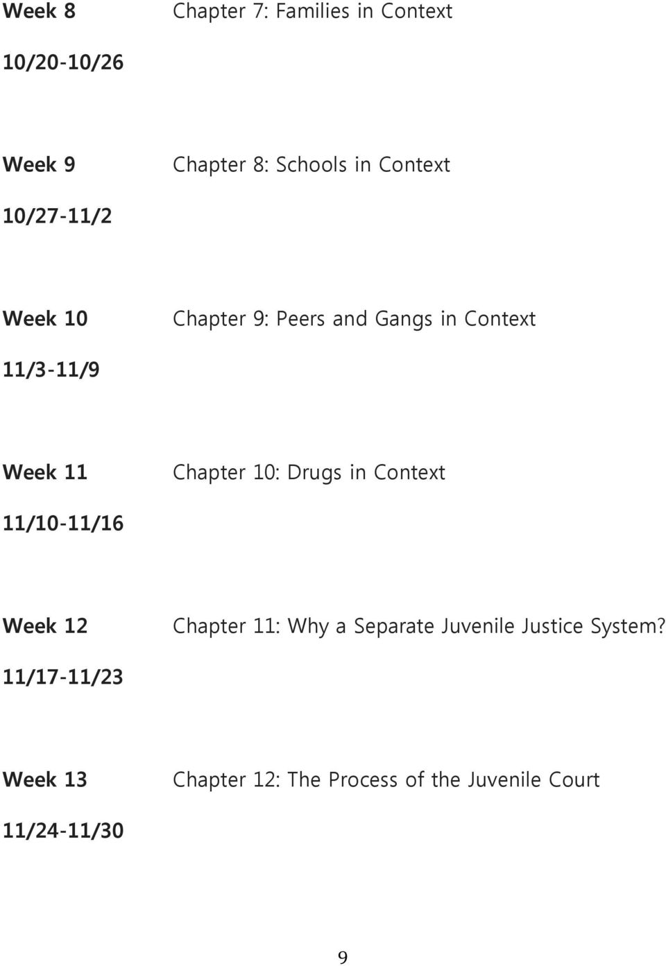 Chapter 10: Drugs in Context 11/10-11/16 Week 12 Chapter 11: Why a Separate Juvenile