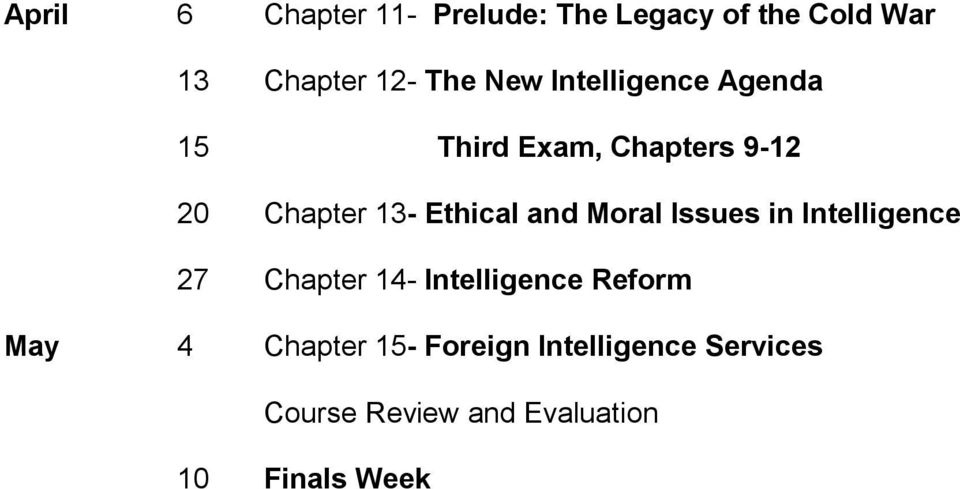 and Moral Issues in Intelligence 27 Chapter 14- Intelligence Reform May 4