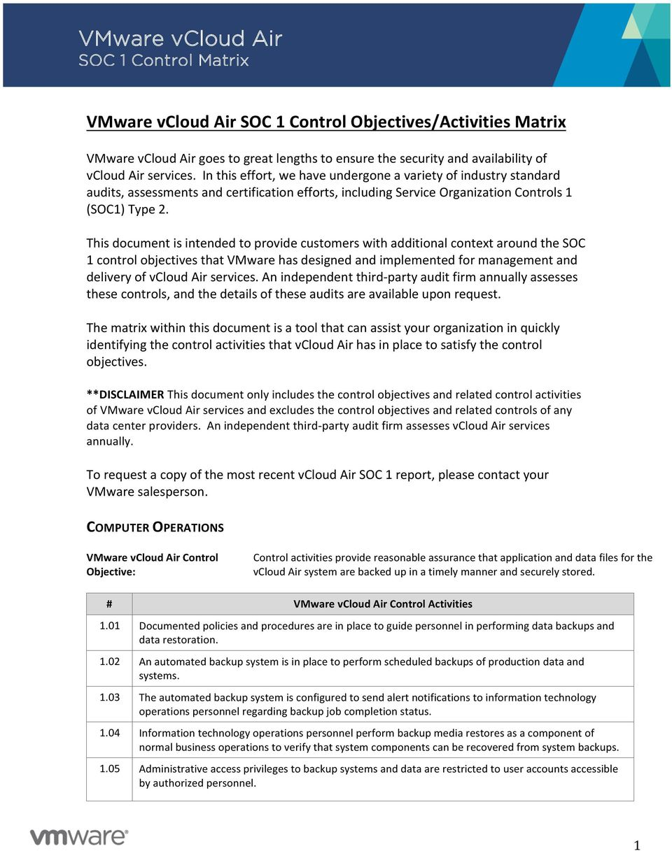 This document is intended to provide customers with additional context around the SOC 1 control objectives that VMware has designed and implemented for management and delivery of vcloud Air services.
