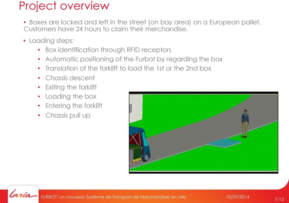 Loading steps: Box identification through RFID receptors Automatic positioning of the Furbot by