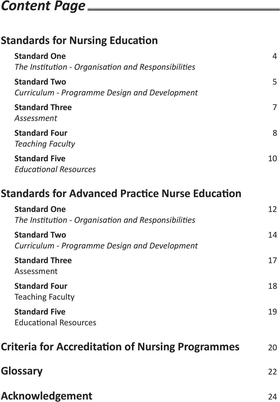 Education Standard One 12 The Institution - Organisation and Responsibilities Standard Two 14 Curriculum - Programme Design and Development Standard Three 17