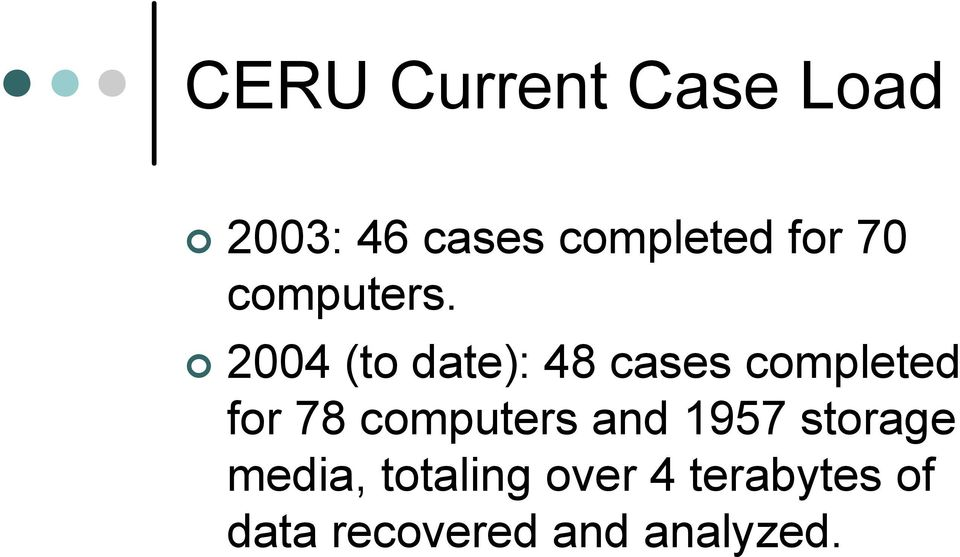 2004 (to date): 48 cases completed for 78