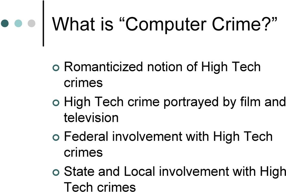 crime portrayed by film and television Federal