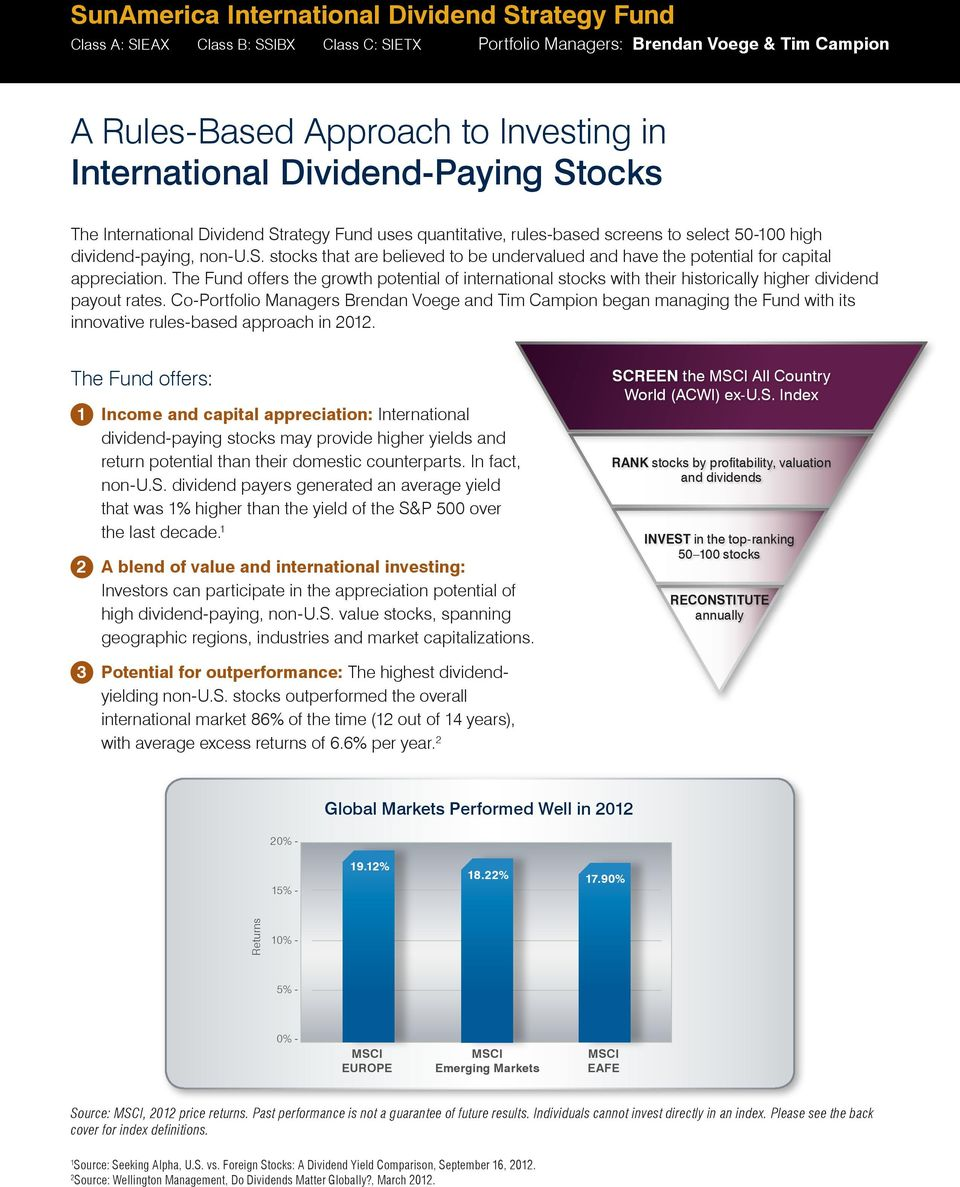 The Fund offers the growth potential of international stocks with their historically higher dividend payout rates.