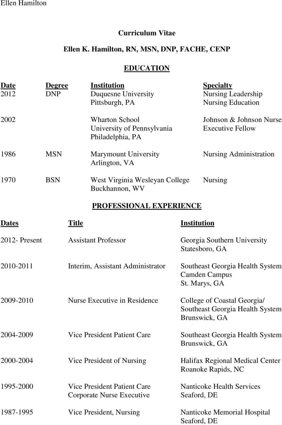 Nurse University of Pennsylvania Executive Fellow Philadelphia, PA 1986 MSN Marymount University Nursing Administration Arlington, VA 1970 BSN West Virginia Wesleyan College Nursing Buckhannon, WV