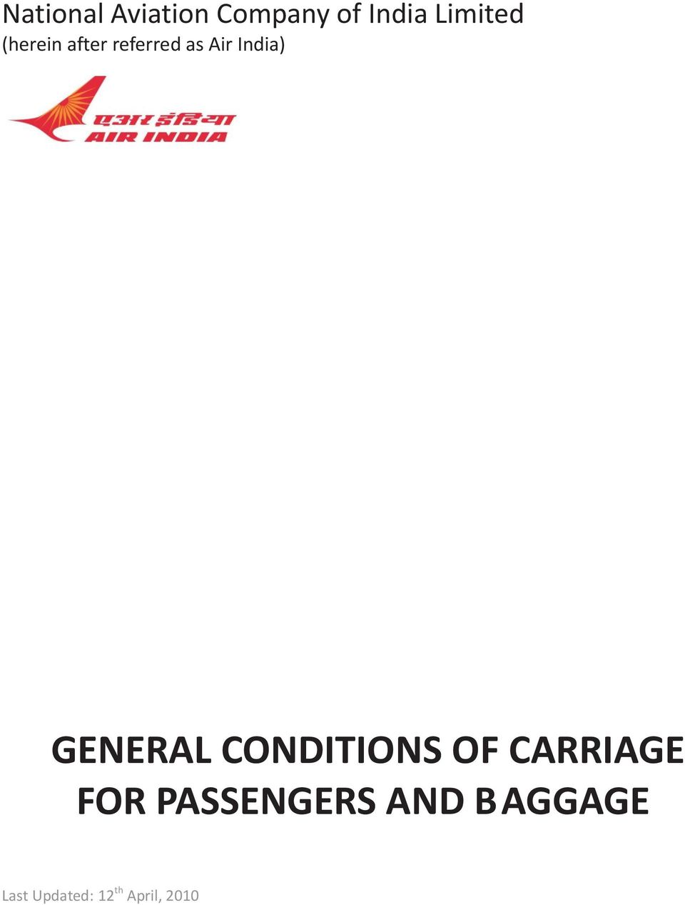 GENERAL CONDITIONS OF CARRIAGE FOR