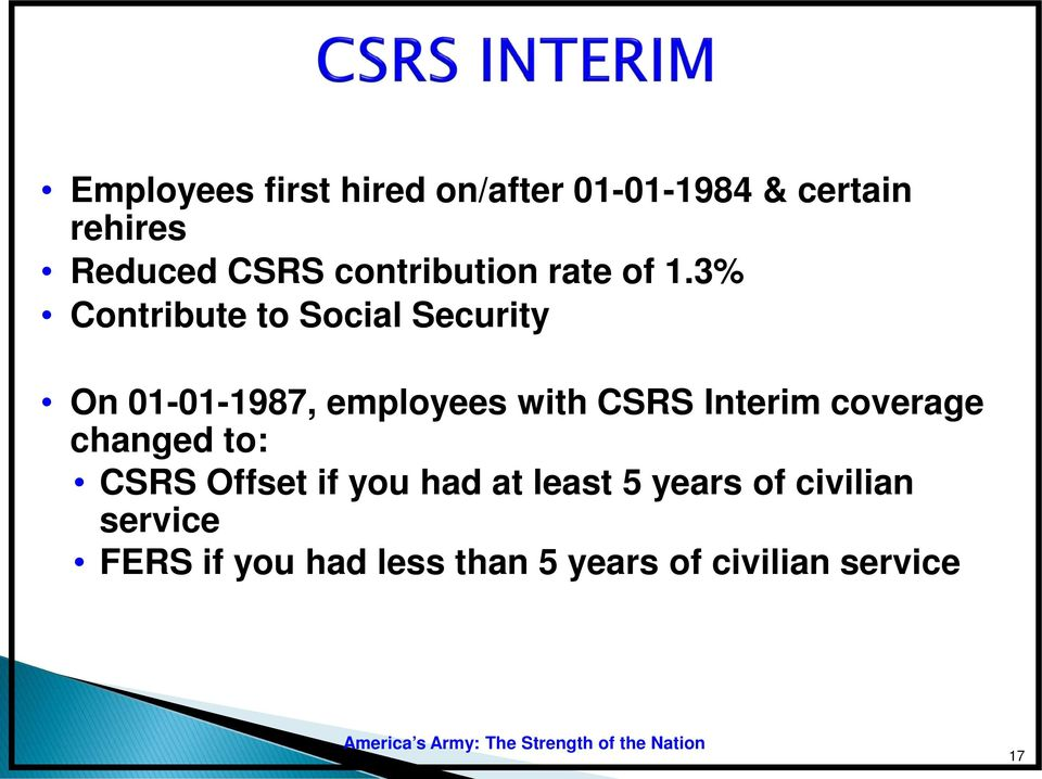 3% Contribute to Social Security On 01-01-1987, employees with CSRS Interim