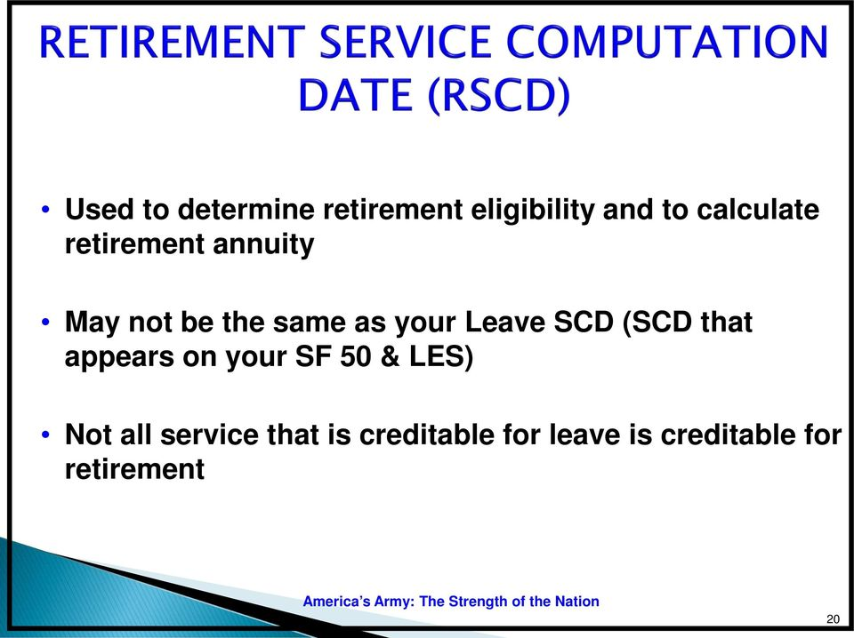 (SCD that appears on your SF 50 & LES) Not all service