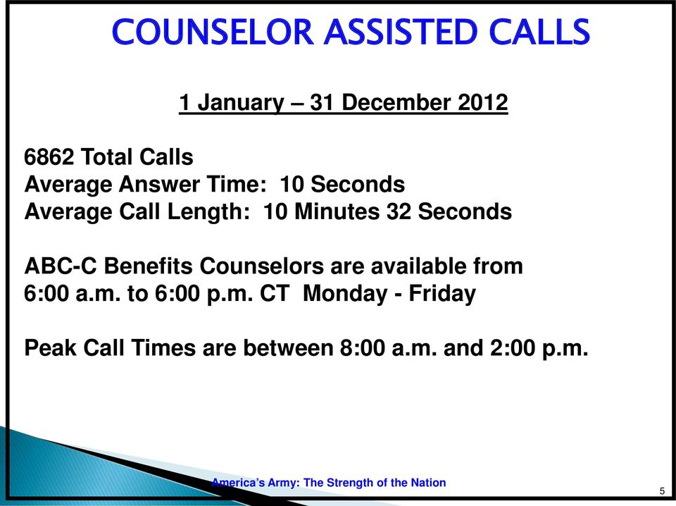 Seconds ABC-C Benefits Counselors are available from 6:00 a.m. to 6:00 p.