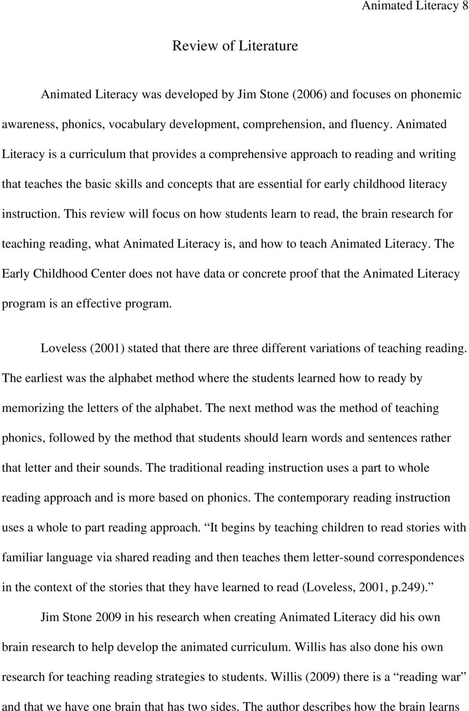This review will focus on how students learn to read, the brain research for teaching reading, what Animated Literacy is, and how to teach Animated Literacy.