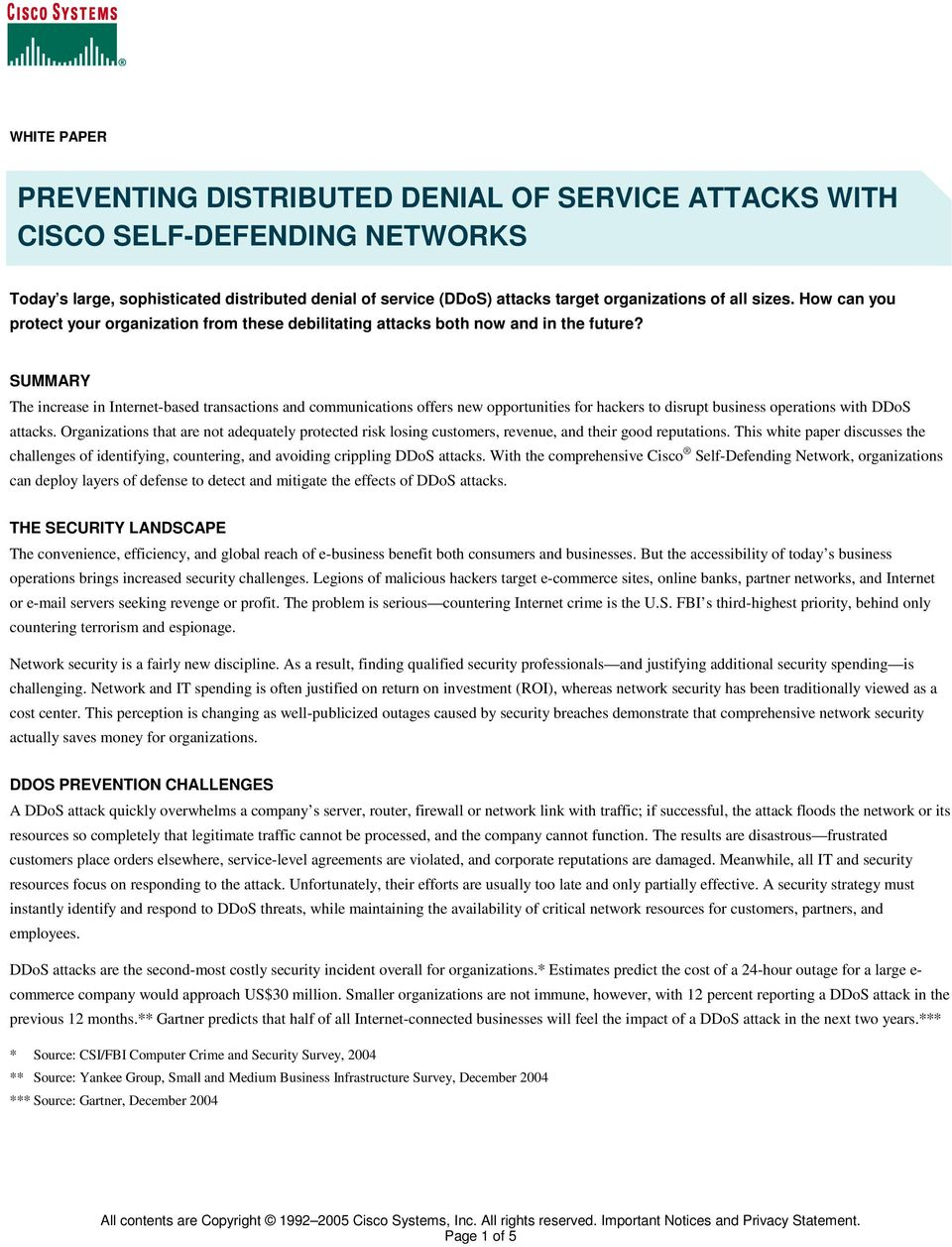 PREVENTING DISTRIBUTED DENIAL OF SERVICE ATTACKS WITH CISCO SELF