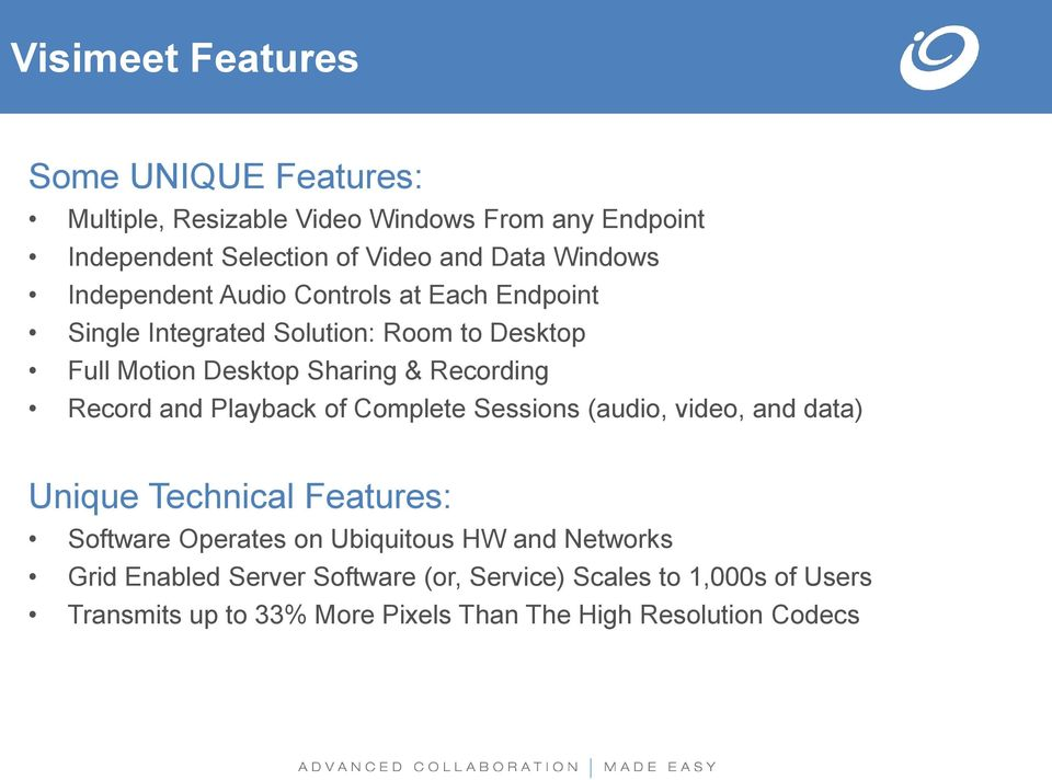 Record and Playback of Complete Sessions (audio, video, and data) Unique Technical Features: Software Operates on Ubiquitous HW and