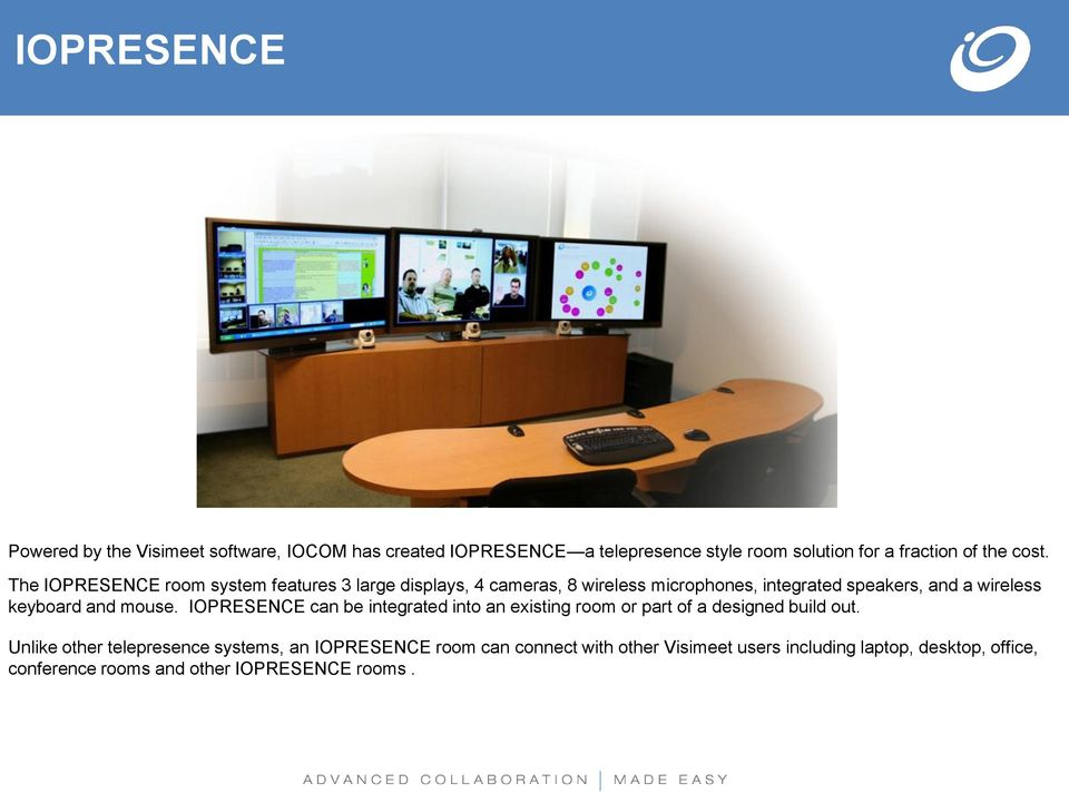 keyboard and mouse. IOPRESENCE can be integrated into an existing room or part of a designed build out.