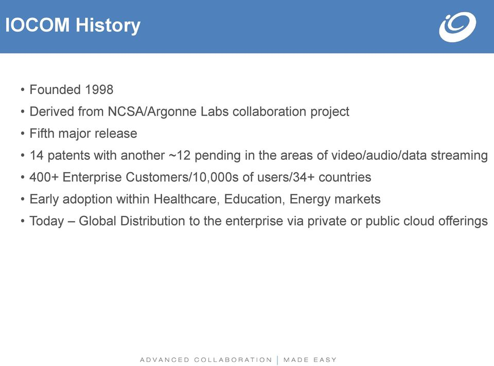 Enterprise Customers/10,000s of users/34+ countries Early adoption within Healthcare,