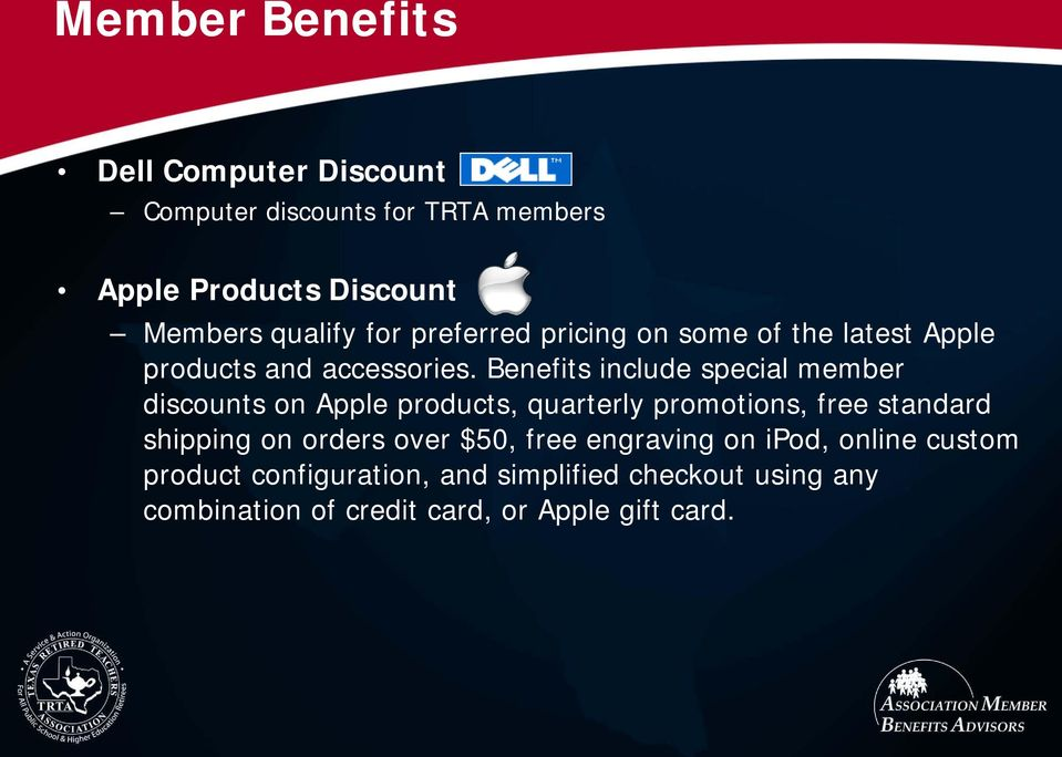 Benefits include special member discounts on Apple products, quarterly promotions, free standard shipping on