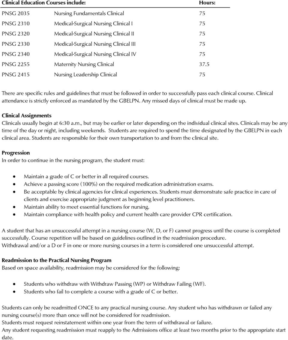 5 PNSG 2415 Nursing Leadership Clinical 75 There are specific rules and guidelines that must be followed in order to successfully pass each clinical course.