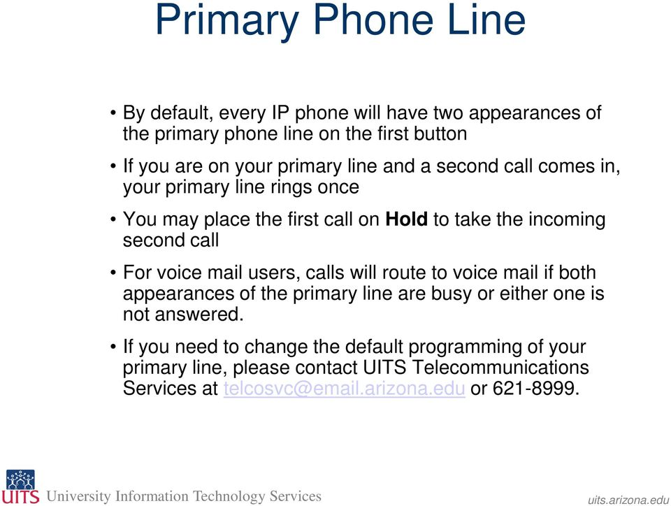For voice mail users, calls will route to voice mail if both appearances of the primary line are busy or either one is not answered.